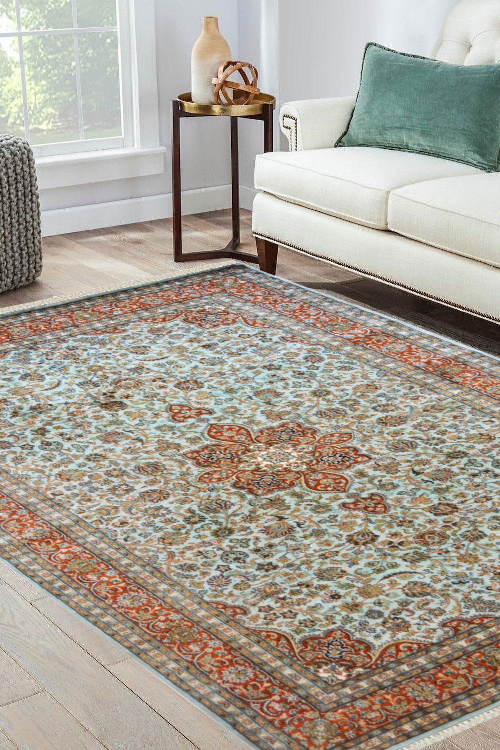 Pista Medallion Rug Gold Color Silk Area Rugs