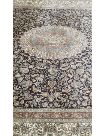 Blue Kashan Medallion Handmade Silk Carpet
