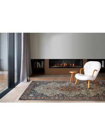 Ivory Kirman Kashmir Wool Carpet
