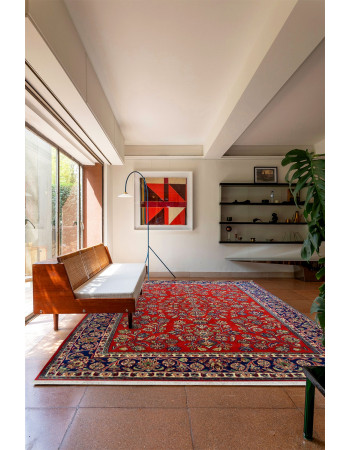 Red Kashmir Ki Kali Fine Area Wool Rug