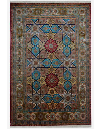 Turquoise Diamond Pure Silk Rug
