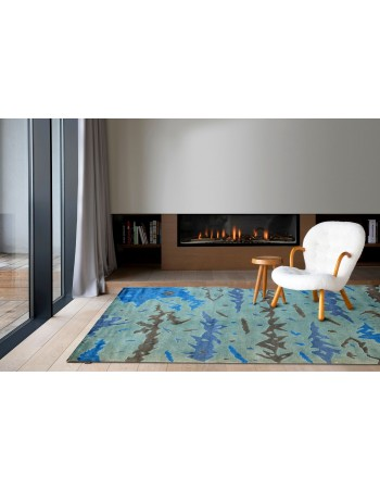 Blue Sea Abstract Wool Carpet