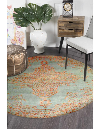 Sea Medallion Round Wool Area Rug
