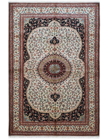 Ardabil pure silk on silk kashmiri silk area rug