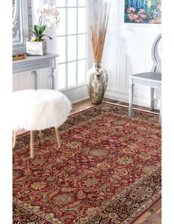 Red Gold Floral Persian Design Oriental Handknotted Wool Carpet