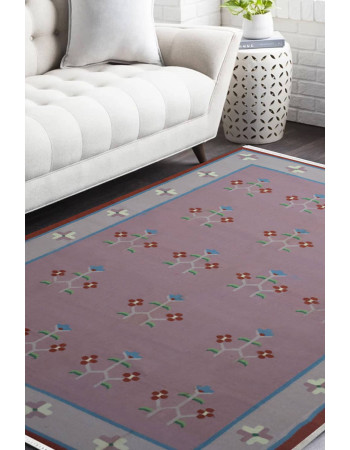 Salmon Pink Wool Durry Rug
