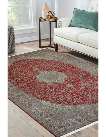 Jhoomar Medallion Red Kashmir Silk Rug