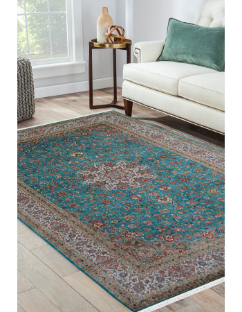 Turquoise Wheel Fine Silk Handmade Carpet