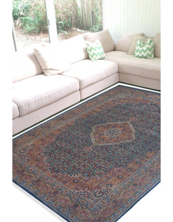 Rust Blue Bidjar Wool Carpet