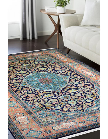 Orange Blue Medallion Persian Kashan Pure Silk Rug