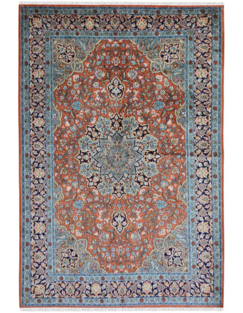 Handloomed Orange and Blue Traditional Kashmir Silk Carpet