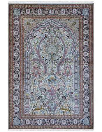 Tree of life Persian design Kashmir hand knotted silk carpet