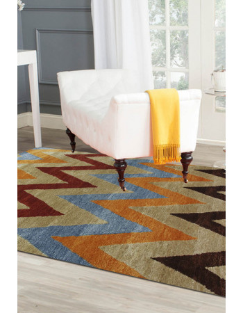 Colored Zig-Zag Handknotted Carpet