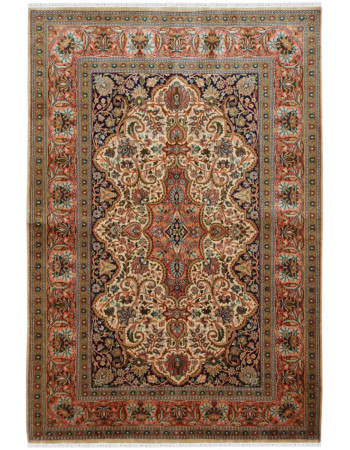 Cream Orange Handknotted Luxury Silk Carpet