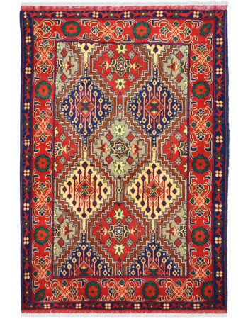 Traditional small geometrical wool handknotted woolen carpet