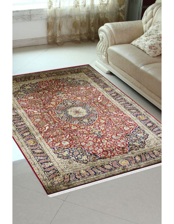 Veer Red Medallion Traditional Silk Area Rug