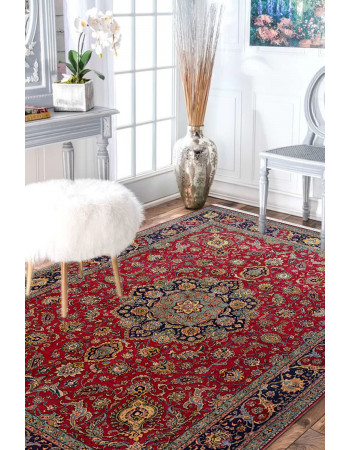 Red Central Medallion Wool Persian Carpet