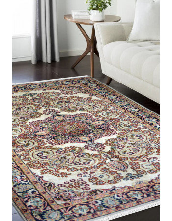 Ivory Sapera Kashan Silk on Cotton Area Rug