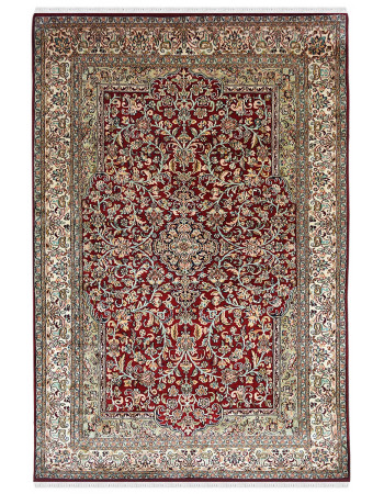 Mughal Tings Motif Red Traditional Handknotted Rug