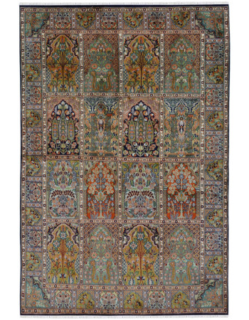 Jaali Qum Gold Silk Area Rug