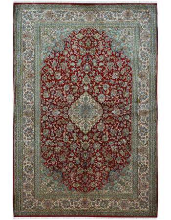 Rouge Gold Medallion Silk Area Rug