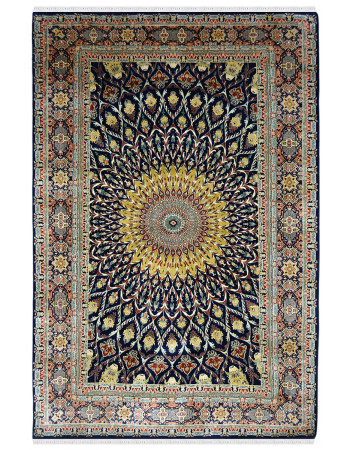 Beautiful Mori Pankh Handknotted Silk Rug