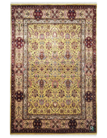 Lotus Mughal Handknotted Indian Wool Rug