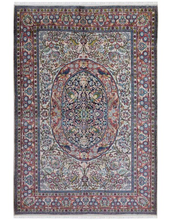 Traditional Persian Ivory and Blue Silk on Cotton Rug