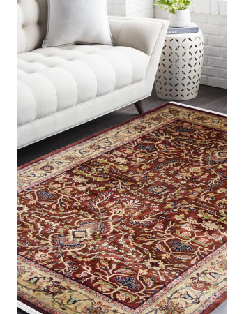 Traditional Jewel Maroon Handknotted Wool Rug