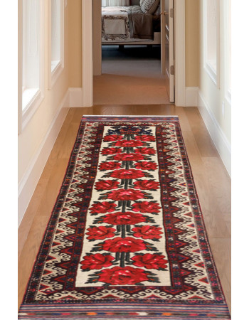 Gulab Floral Handknotted Afghan Runner