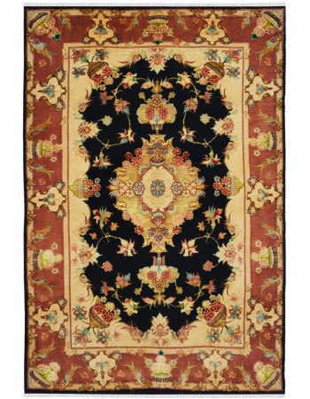 Floral Persian Handknotted wool and silk area rug
