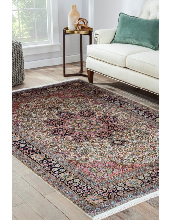 Floral traditional pattern kashan pink and ivory pure kashmir rug