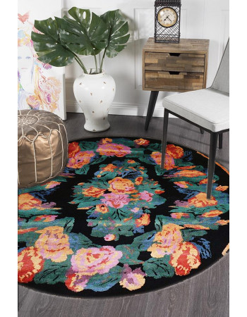 French Fleur Handknotted Round Wool Area Rug