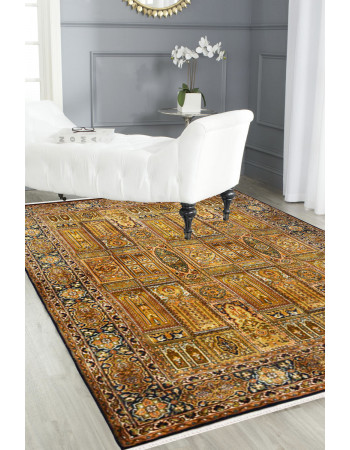 Gold Column Qum Handmade Area Rug