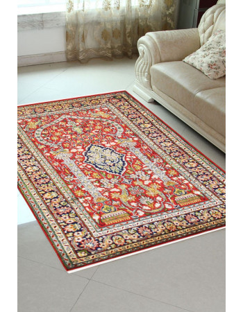 Rust Indian kashmir Silk Kashan Area rug