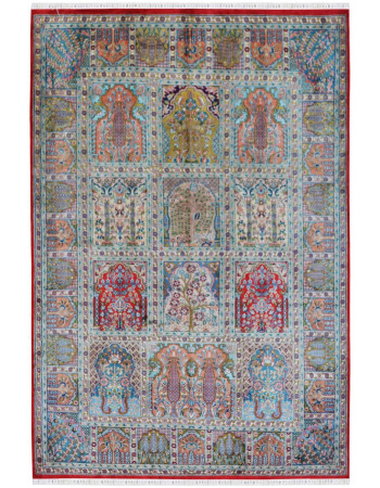 Hamadan persian design pure silk on cotton handknotted area rug