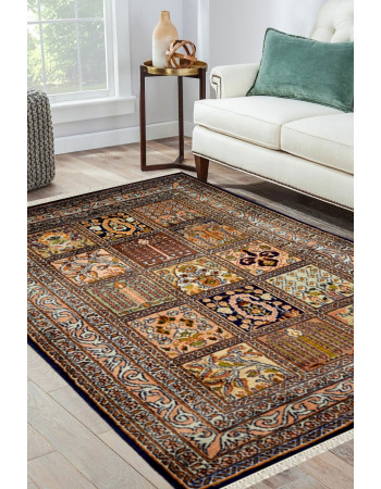Classical Hamadan Multi-Color Silk Area rug