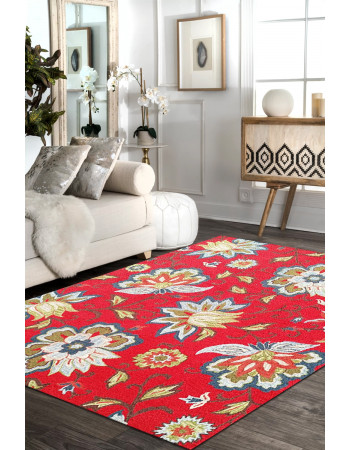 Floral Cherry Hand-Tufted Wool Rug