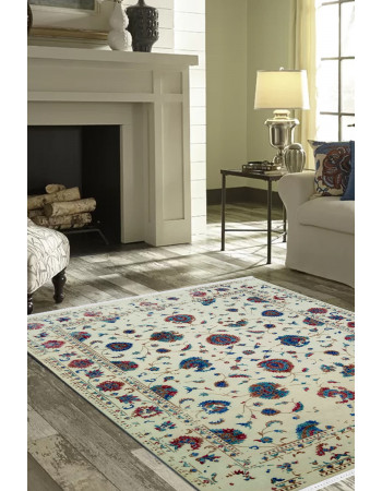 Ivory Floral Beauty Handknotted Woolen Carpet