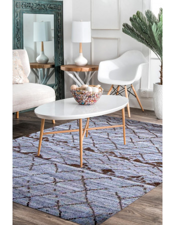 Abstract Comfort Hand Knotted Moroccan Wool Area Rug