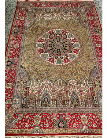 Ardabil Kashan Handknotted Silk Area Rug