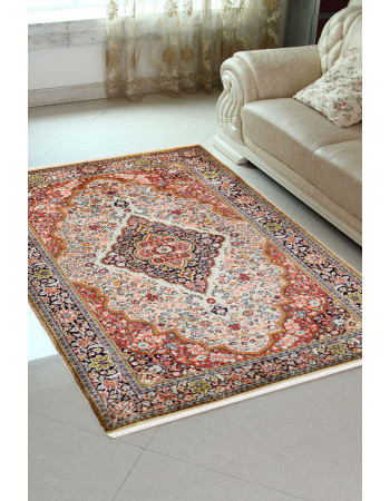 Ivory Diamond Kashan Silk Area Rug