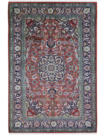 Orange Medallion Kashan Silk on Silk Kashmir Carpet