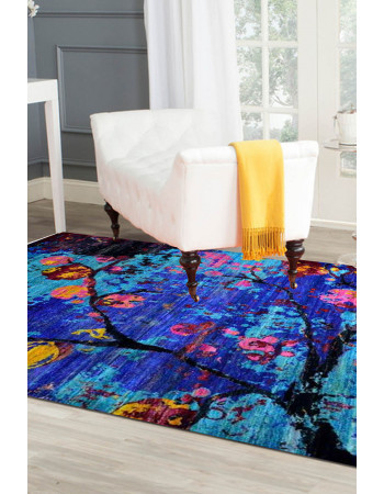 Midnight Beauty Sari Silk Area Rug