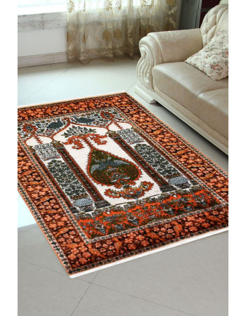 Prayer Ivory and orange Silk Area Rug