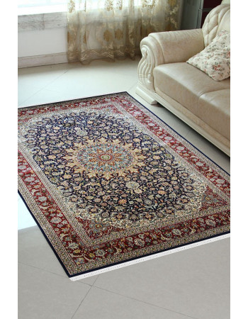 Blue Kashan Handknotted Pure Silk Carpet