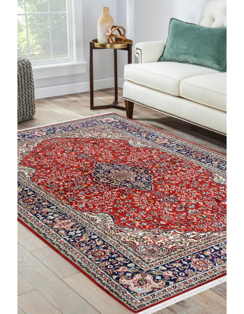 Red Kashmiri Carpet Kashan Silk Area rug