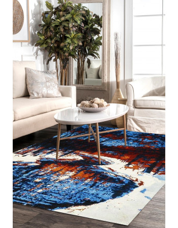 Contemporary Pure Wool Blue Designer Modern Area Rug