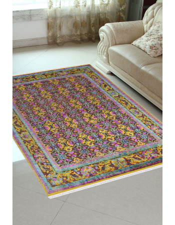 Yellow Flower Handmade Sari Silk Carpet