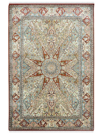 Oriental Turkish Cream Handknotted Silk Area Rug